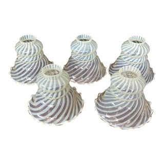 Vintage Fenton Opalescent Swirl Glass Lamp Globes - Set of 5 For Sale