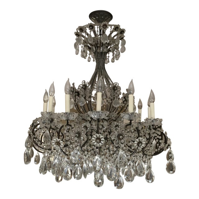 Late 20th Century Italian Copper and Crystal 12 Light Chandelier For Sale