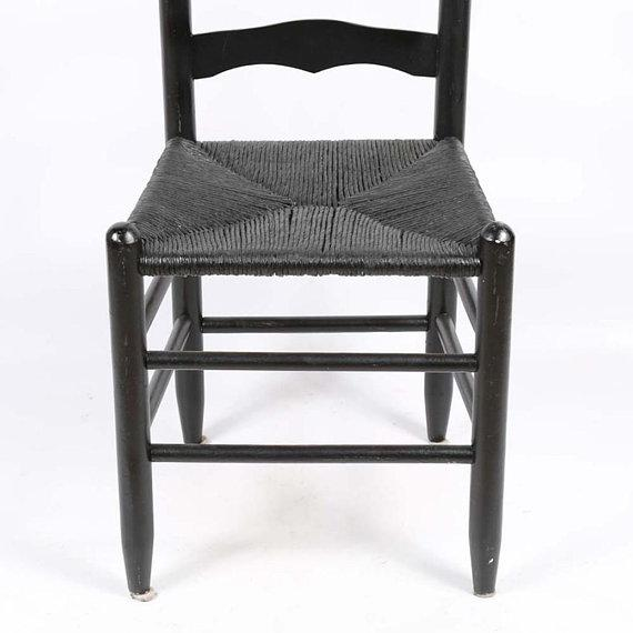 Americana Vintage Country Farmhouse Rush Seat Ladder Back Black Dining Chairs - Set of 6 For Sale - Image 3 of 8