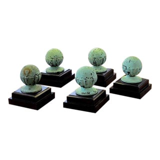 A Set of 5 American Classical-Revival Verdigris Bronze Finials For Sale