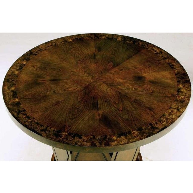 Mid-Century Modern Burled & Figured Walnut End Table With Open Harlequin Base For Sale - Image 3 of 6