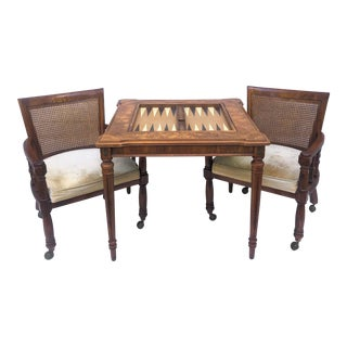 Vintage Burl Game Table With Side Chairs For Sale