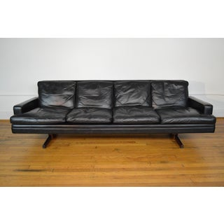 Fredrik Kayser for Vatne Mobler Leather & Rosewood Sofa Preview