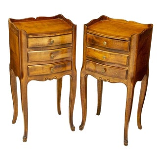 20th Century French Louis XV Walnut Bedside Cabinets - a Pair For Sale