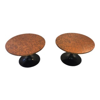 Brutalist Copper Pedestal Tables For Sale