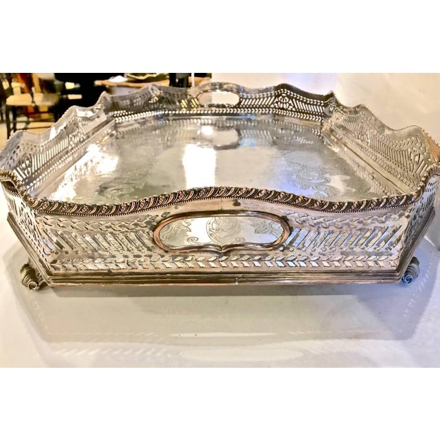 Hollywood Regency Sheffield Silver Plate Large Gallery Tray For Sale - Image 3 of 8
