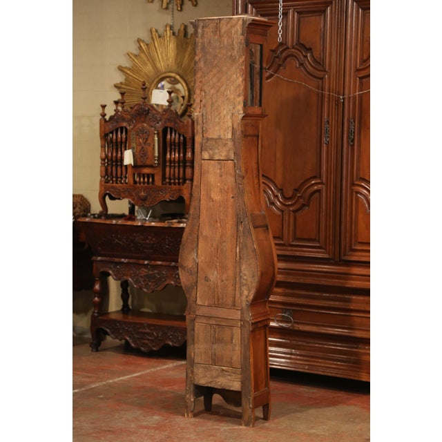 Late 18th Century French Louis XV Carved Burl Walnut Tall Case Clock From Lyon For Sale - Image 12 of 13