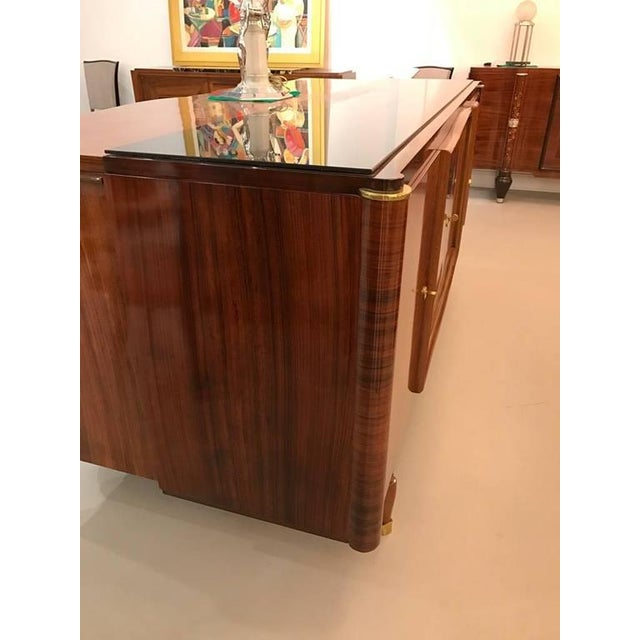 French Art Deco Palisander Buffet with Black Glass Top - Image 7 of 9