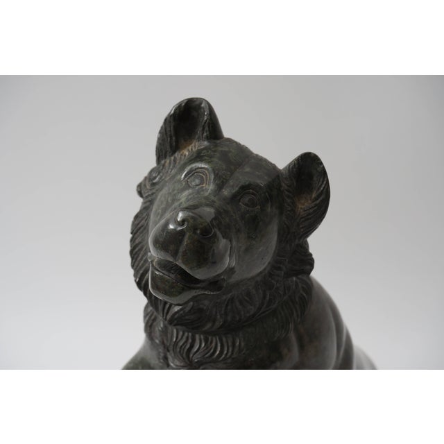 This stylish 19th century Grand Tour sculpture depicts a Molossian hound of ancient Greece and Albania. The dark green...