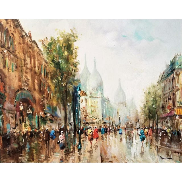 Impressionist Paris Montmarte Oil Painting on Canvas by Demone For Sale - Image 3 of 6