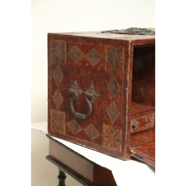Ole! A terrific Spanish bargueno, or vargueno, portable campaign storage desk with two interior drawers. Original tooled...
