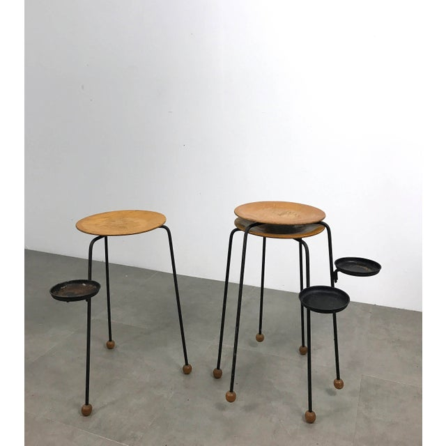 """Set of three Tempo Group stacking """"Tablettes"""" Designed by Tony Paul for Woodlin-Hall, 1950's. Tripod base with wooden ball..."""