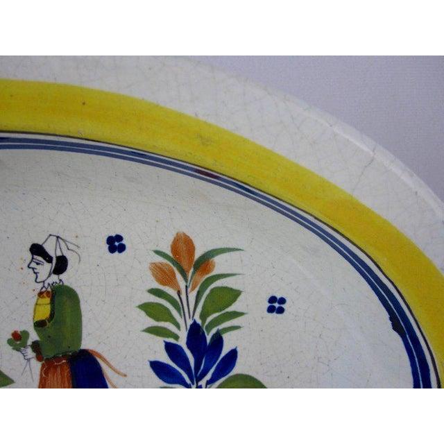 Henriot Quimper HenRiot Quimper Oval Faience Bowl, Femme de la Campagne Breton For Sale - Image 4 of 9