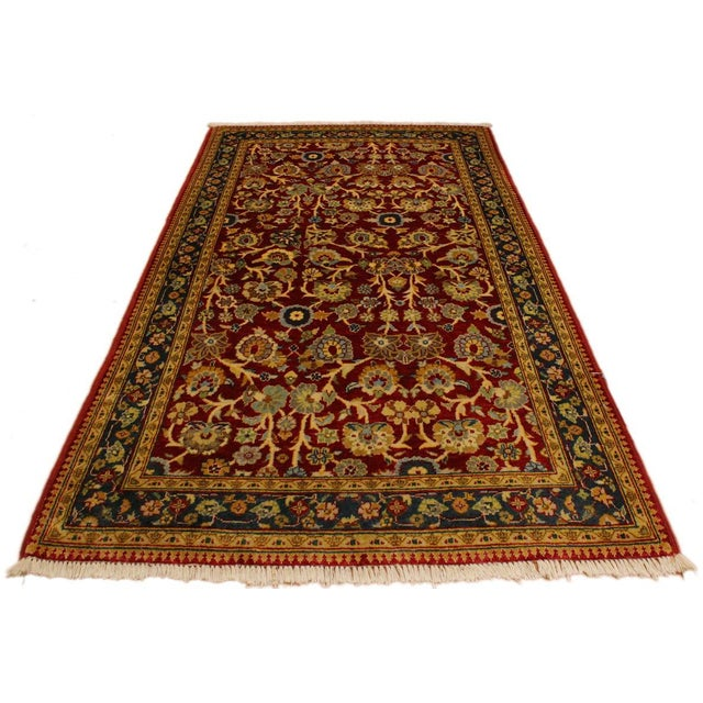 Istanbul Sidney Red/Teal Turkish Hand-Knotted Rug -3'2 X 5'1 For Sale - Image 4 of 8