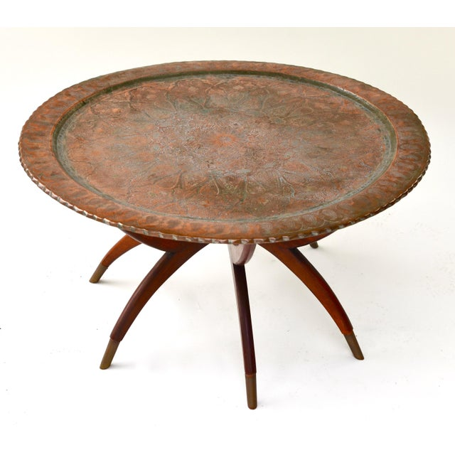 Anglo-Indian Large Antique Copper Tray Table on Midcentury Folding Base For Sale - Image 3 of 5