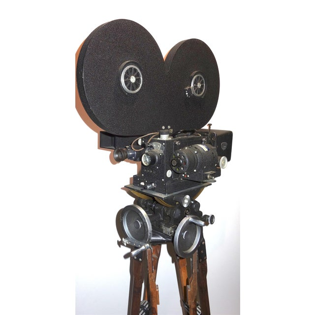 Hollywood Mid Century Movie Camera With Geared Head and Vintage Wood Tripod Legs For Sale - Image 4 of 9