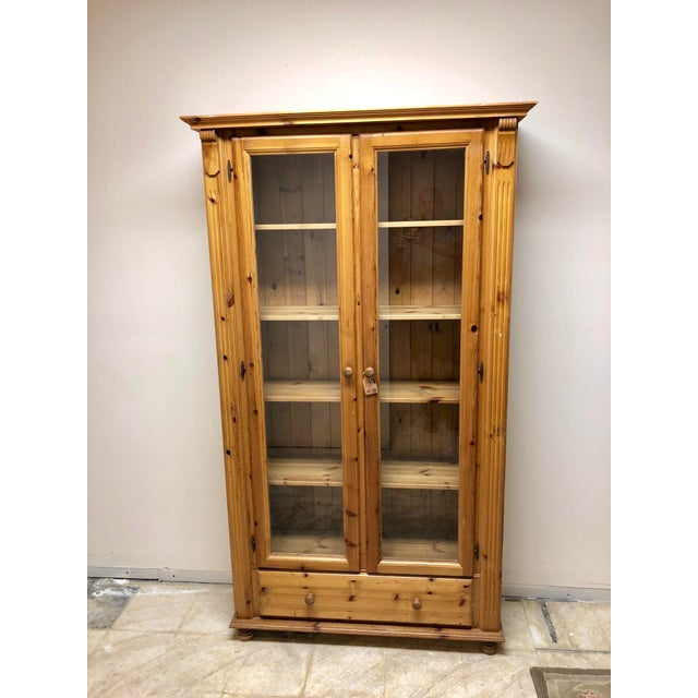 1900s American Classical Pine Glass Front Bookcase For Sale - Image 10 of 10