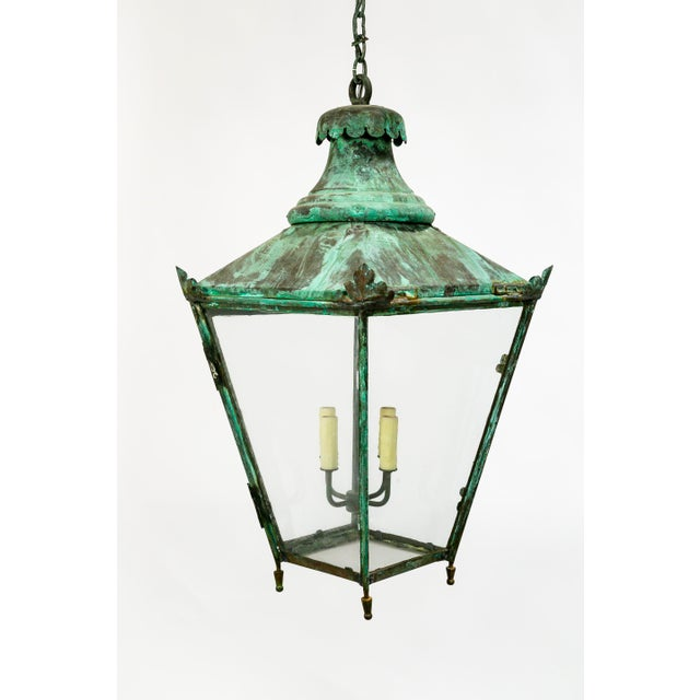 Large Green Patina Lantern For Sale - Image 4 of 9