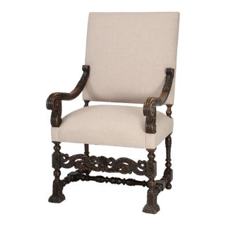 Antique French Louis XIII Throne or Armchair For Sale