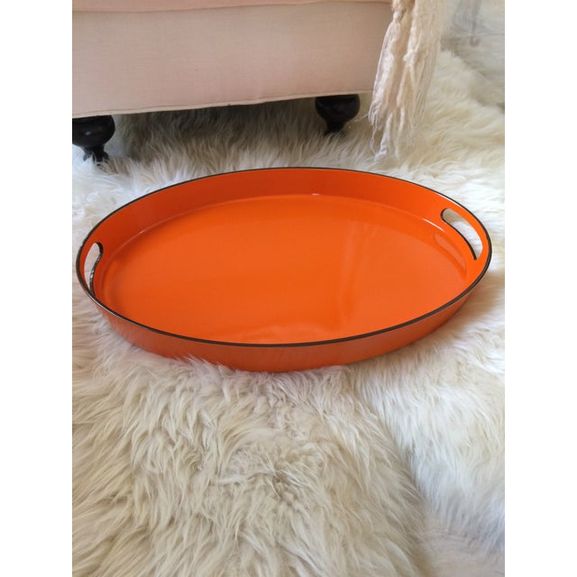 Orange Lacquer Oval Hermès Inspired Serving Tray - Image 8 of 12
