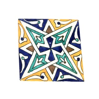 Hand Painted Moroccan Large Decorative Cement Tile For Sale