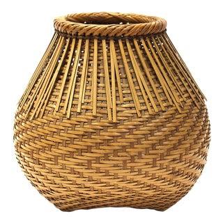 Signed Japanese Bamboo Ikebana Flower Wall Basket For Sale