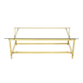 Square Solid Brass Profile Architectural Base Rectangular Coffee Table For Sale
