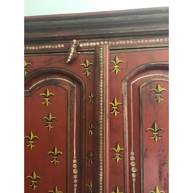 1990s Red Indian Cabinet For Sale - Image 4 of 8