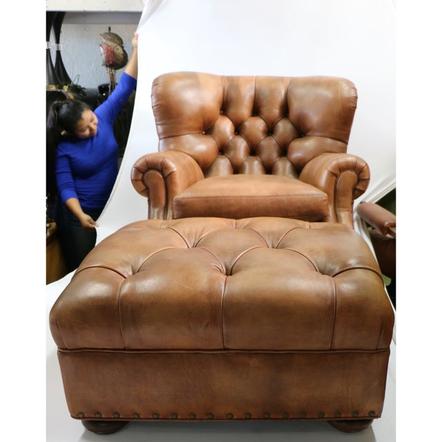 Hancock & Moore Leather Chair With Ottoman - Image 2 of 5