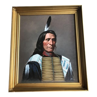 Framed Oil Painting of Native American Indian Chief