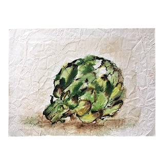 1970s Vintage Zilla Sussman Artichoke Watercolor Painting on Paper For Sale