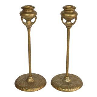 Pair Tiffany Style Candlestick Holders With Hammered Bases For Sale