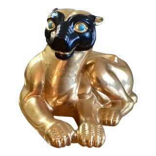 1970s Chinoiserie Black & Gold Jungle Cat Figure For Sale