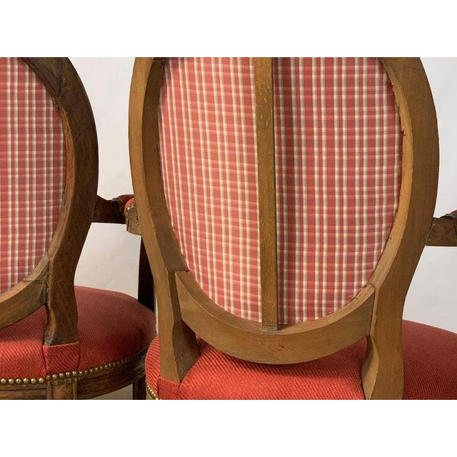 Pair of French Louis XVI Beechwood Fauteuils For Sale - Image 11 of 12