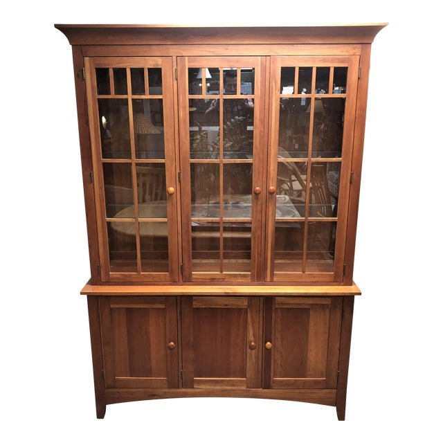 furniture desk craftsman mission delightful hinge corner china with solid style cabinet buffet a rare room strap open wood dining products signed top sideboard hutch