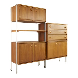 Stanley Furniture Mid Century Teak and Chrome Modular Wall Unit For Sale