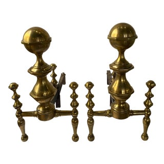 Antique 19th Century English Brass Andirons - a Pair For Sale