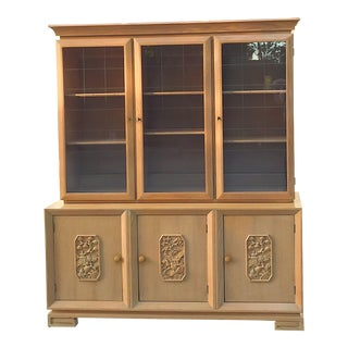 Mid-Century Chinoiserie Glass Front Cabinet