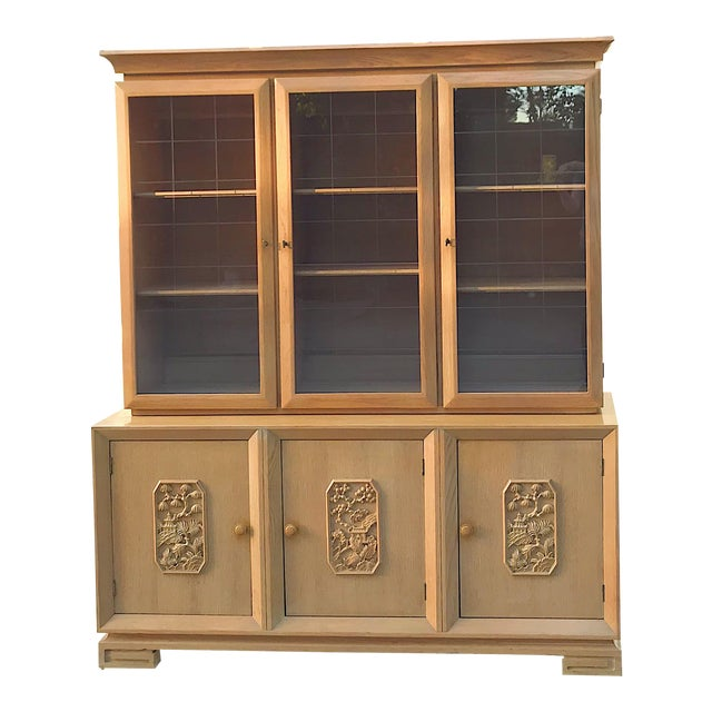 Mid-Century Chinoiserie Glass Front Cabinet - Image 1 of 8