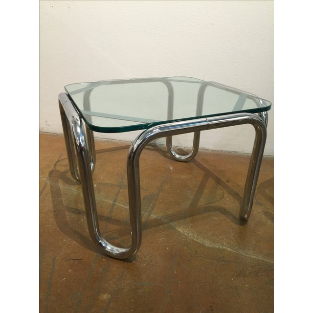 Vintage Chrome & Glass End Tables - A Pair - Image 4 of 6