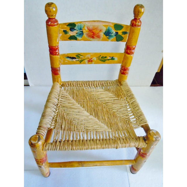 1900's Rustic Childs Chair With Rush Seat For Sale - Image 12 of 12
