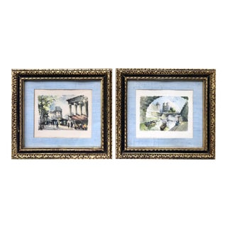 French Scenes of Paris Watercolor Prints in Gold Frames - a Pair For Sale
