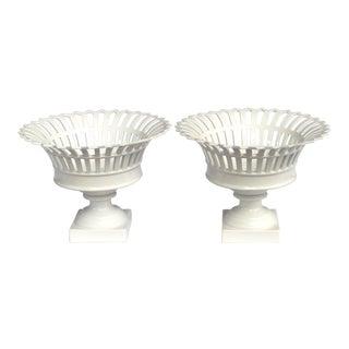 Good Pair of German Kpm White-Glazed Pierced Lattice Porcelain Compotes For Sale