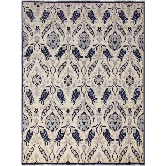 Blue Kafkaz Peshawar Floyd Ivory/Drk. Blue Wool Rug - 8'0 X 10'2 For Sale - Image 8 of 8