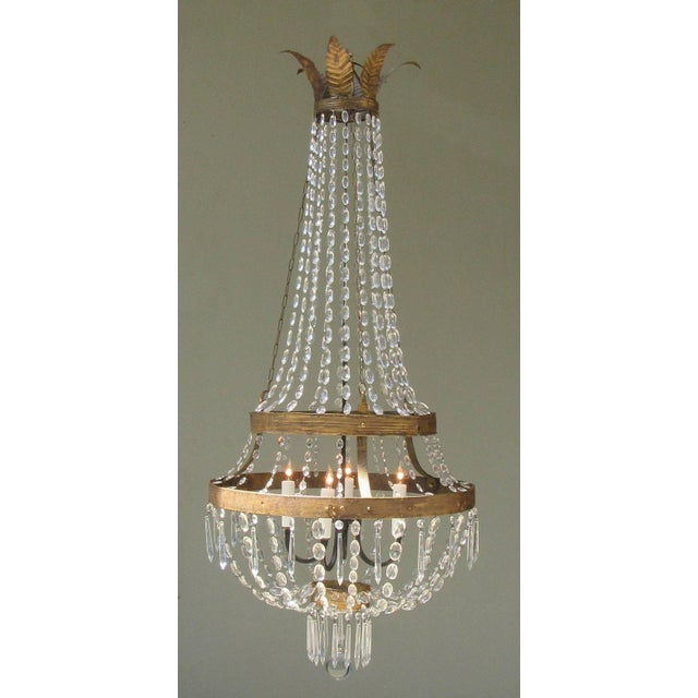 Late 18th Century 18th Century Italian Empire Iron, Crystal and Tole Basket Chandelier For Sale - Image 5 of 7