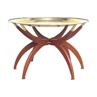 Vintage Brass & Wood Spider Table For Sale