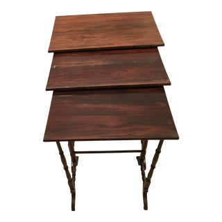 Circa 1850 Bishop Carr England Wine Tasting Nesting Tables - S/3 For Sale