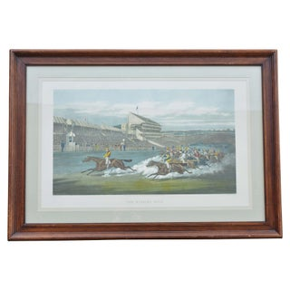 """Horse Race Scene"" Framed Colored Engraving For Sale"
