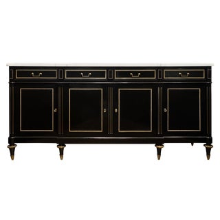 Louis XVI Ebonized Mahogany Buffet With Carrara Marble Top For Sale