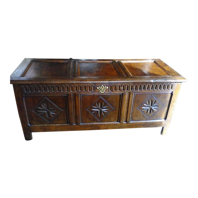English Oak Carved Coffer For Sale